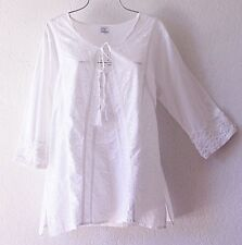 NEW~White Crochet Lace Cotton Peasant Blouse Shirt Boho Plus Top~14/XL/1X