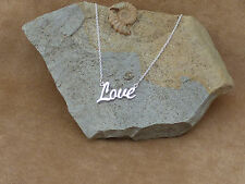 "New Solid 925 Sterling Silver 'Love' Necklace Jewellery 18"" Gift Box"