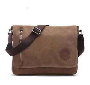 New Canvas School Work College Bag Laptop Satchel Messenger Travel Shoulder Bag