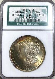 1885-O Morgan Binion Collection Label NGC Brilliant Uncirculated  Nice toning!!