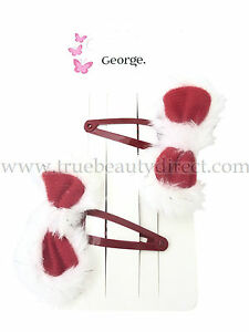 2 CHRISTMAS HAIR SLIDES RED BOW WITH WHITE TRIM HAIRCLIPS ACCESSORIES XMAS NEW