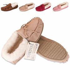 Nordvek Womens Suede Moccasin Slippers Shoes Sheepskin Wool Hard Sole Ladies