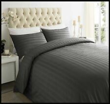 Hotel 250tc 100 Egyptian Cotton Satin Stripe Duvet Quilt Cover Bedding Set Grey Double
