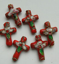 6  Cloisonne Beads, Ornate Floral Cross, Red/Green/Pink 20x12mm Jewellery Making