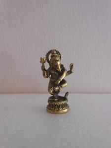 Lord Pancha Mukha Ganesh Ganapati the Dancer Hinduism Brass statue Amulet TINY