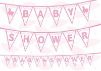 Baby Shower Gender Reveal White Baby Pink Theme Bunting Banner 12 flags 8ft