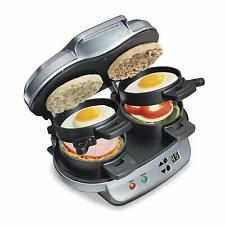 New Hamilton Beach Dual Breakfast Sandwich Maker, Double w/Timer Nonstick 25490