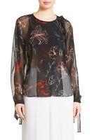 NWOT Diane von Furstenberg DVF Sheer Tie Neck Silk Blouse, sz 10, retail $268