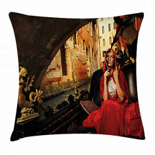 Venice Throw Pillow Case Woman in Red Cloak Mask Square Cushion Cover 18 Inches