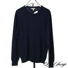 ESSENTIAL Burberry Brit Navy Blue Tartan Nova Check Elbow Patch Wool Sweater XXL
