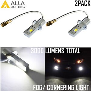 Alla Lighting LED 6000K White H3 Fog Light Bulb Volkswagen GMC Chevrolet Subaru