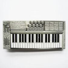 Piano Keyboard w/ Cubic Rhinestones Music Musical Metal Fashion Belt Buckle