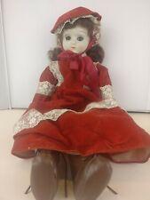 """18"""" Porcelain Doll Red Velvet Dress Handmade Body and Garments"""