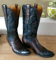 Back At The Ranch Cowboy Boots Brown Black Green Inlay Calf Skin 6.5 Fits 7