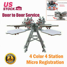 Manual 4 Color 4 Station Micro Registration Silk Screen Printing Press Machine