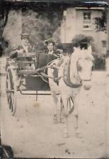 ORIG VICTORIAN Tintype / Ferrotype Photo c1860's HUSBAND & WIFE PONY & TRAP