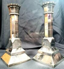 Pair of Heavy Victorian Industrial Silver Plated Castle Top Candlesticks c1870