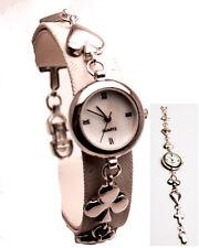 Women's Sterling  Round Silver Analog Quartz  Watch  Playing Card Bracelet