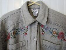 Together~Women's Wool Blend ~Shirt Jacket~Medium~ Gray w/Beautiful Embroidery