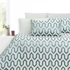HEX Silver Sea Green Grey KING Quilt Cover Set Poly Jacquard Doona Duvet