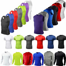 Mens Compression Base Layer T Shirt Summer Workout Fitness Quick Dry Muscle Tee