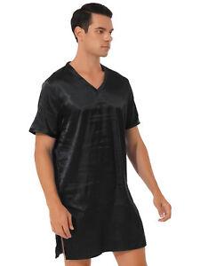 Men Nightshirt Satin Sleep Shirt V Neck Short Sleeve Sides Split Sleepwear