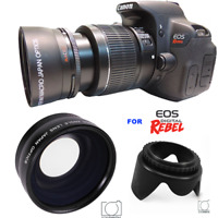 58MM WIDE ANGLE + LENS HOOD FOR Canon Rebel EOS T2 T2I XI T3 T3I T4 T5 T6 7D 6D
