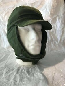 Swedish Army Cold Weather Cap Trapper Hat Green Ear Flaps CW Military Surplus