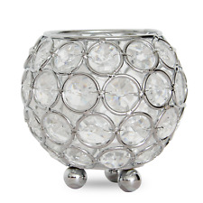 """3"""" Dia. Silver Crystal Beaded Votive Candle Holders Candlesticks Tea Light Stand"""