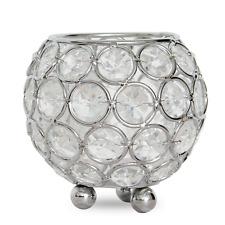 "Silver Crystal Beaded Votive Candle Holders Tea Light Holders Candlesticks 3"""