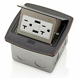 Leviton PFUS2-BZ Pop-Up Floor Box with Dual Type A 3.6 USB Charger 20 Amp Out...