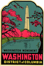 #924 (1) Washington DC USA Luggage Label Travel Decal Sticker Repro 50's