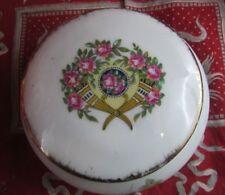 ancienne boite porcelaine ronde limoges UF epoque 1925 fleurs