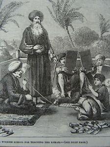 Turkey TURKISH SCHOOL FOR TEACHING THE KORAN - Original Victorian Print 1854