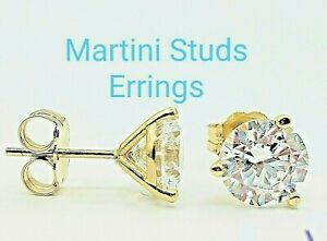 2 CARAT 14K SOLID YELLOW GOLD STUD EARRINGS ROUND FLAWLESS LAB CREATED DIAMONDS