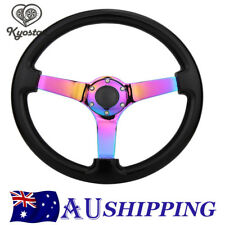 New Neochrome Spoke 350mm Wooden Steering Wheel Black Universal  Deep Dish Corn