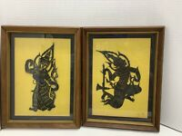"""Vintage Thai Temple Rubbing Wood Framed Silhouettes 11""""x15"""" Silk Backing Read!"""