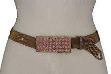 Women Rusty Dark Gold Fashion Dressy Belt Pink Bling Rhinestones Long Buckle M