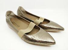 Anyi Lu  Dora Ballet Flat Snake Skin Embossed Metallic Gold Leather Euro 36