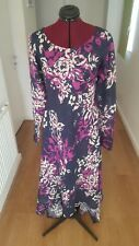 NAVY BLUE FLORAL LINEN HIGH LOW LOOSE FIT DRESS HANDMADE FROM JOHN KALDOR FABRIC