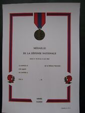 DIPLOME VIERGE MEDAILLE DEFENSE NATIONALE ECHELON BRONZE