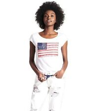 Lucky Brand - Women's M - NWT - White American Flag Appliqué Cotton Tee/T-Shirt