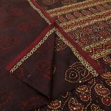 Indien Vintage Vêtement traditionnel Polyester Saree imprimé floral Maroon Sari
