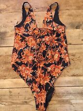 VINTAGE FLORAL UK 14D/DD WOLF & WHISTLE ASOS LACE UP  One Piece SWIMSUIT NEW