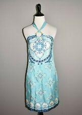 VINEYARD VINES $275 Silk Summerland Scarf Halter Dress Riviera Blue Size 0