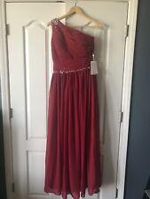 Burgundy One Shoulder Floor Length Chiffon Formal, Prom, Military Ball Dress