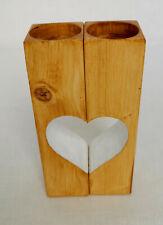 Set of 2 Handmade White Heart Shaped Wooden Tea Light Holders Rustic Natural Oak