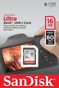 16GB SD SanDisk Ultra Speicherkarte Für Canon Powershot A1100 Digitalkamera