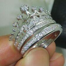 Vintage Lady's Round Diamond 14K White Gold Finish Crown Wedding Band Ring Set