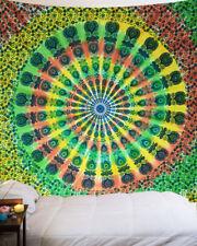 Orange Green Queen Hippie Mandala Tapestry Indian Wall Hanging Decor Bohemian